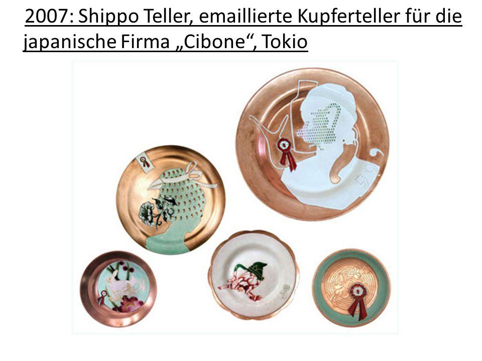 """2007: Shippo Teller, emaillierte Kupferteller für die japanische Firma """"Cibone , Tokio"""