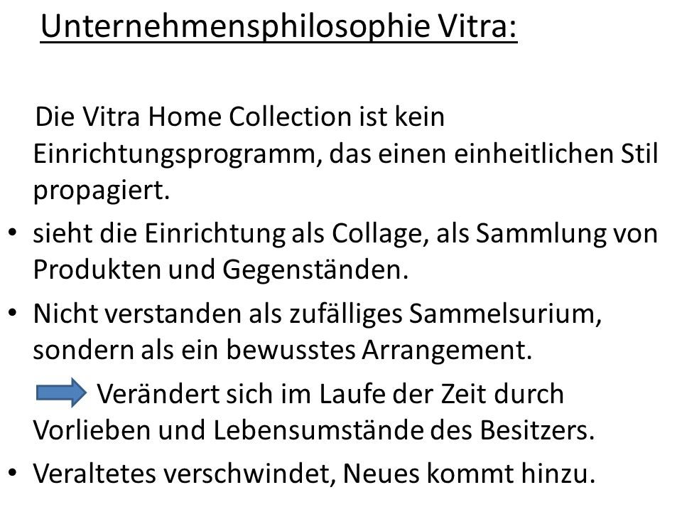 Unternehmensphilosophie Vitra: