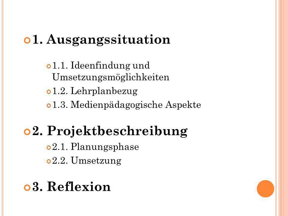 1. Ausgangssituation 2. Projektbeschreibung 3. Reflexion