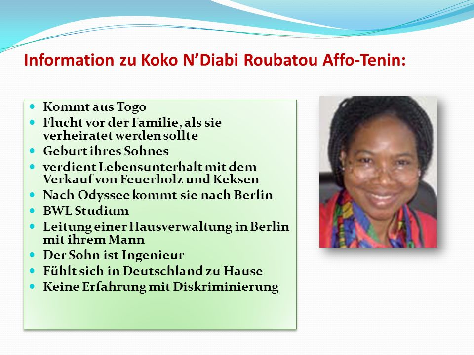 Information zu Koko N'Diabi Roubatou Affo-Tenin:
