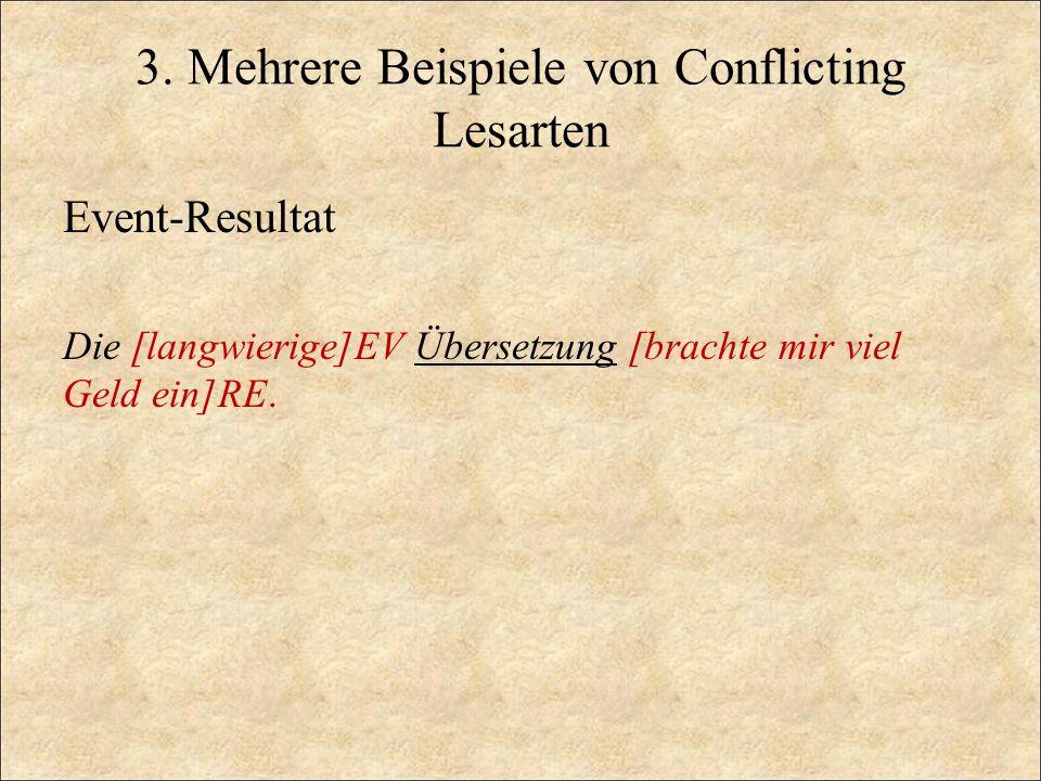 3. Mehrere Beispiele von Conflicting Lesarten
