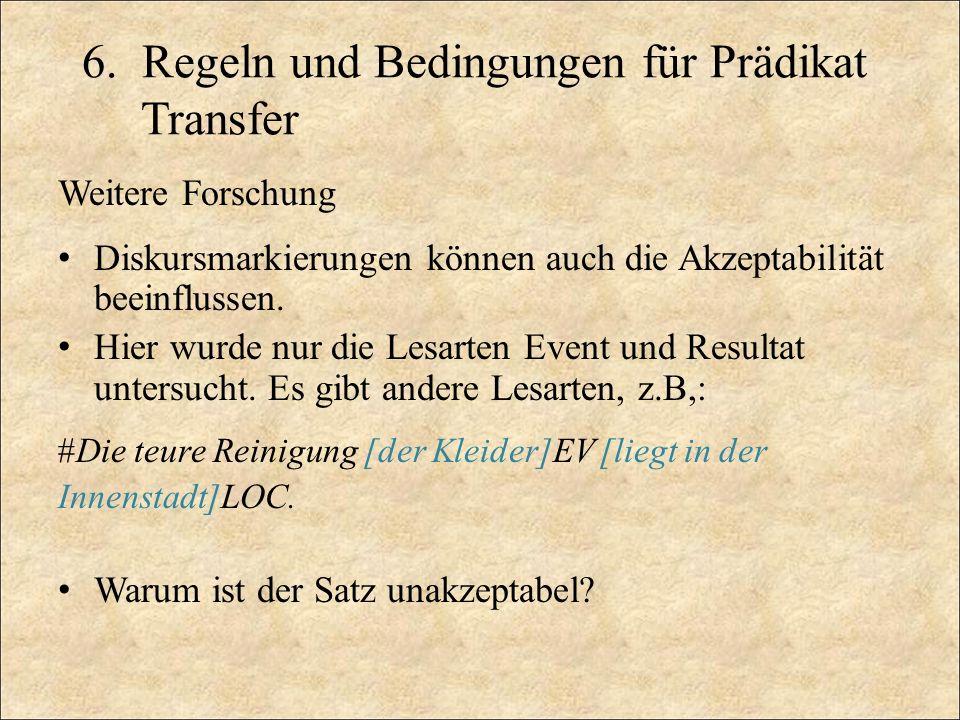 6. Regeln und Bedingungen für Prädikat Transfer