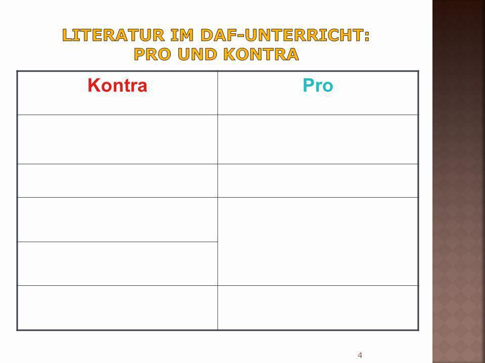 Literatur im DaF-Unterricht: Pro und Kontra