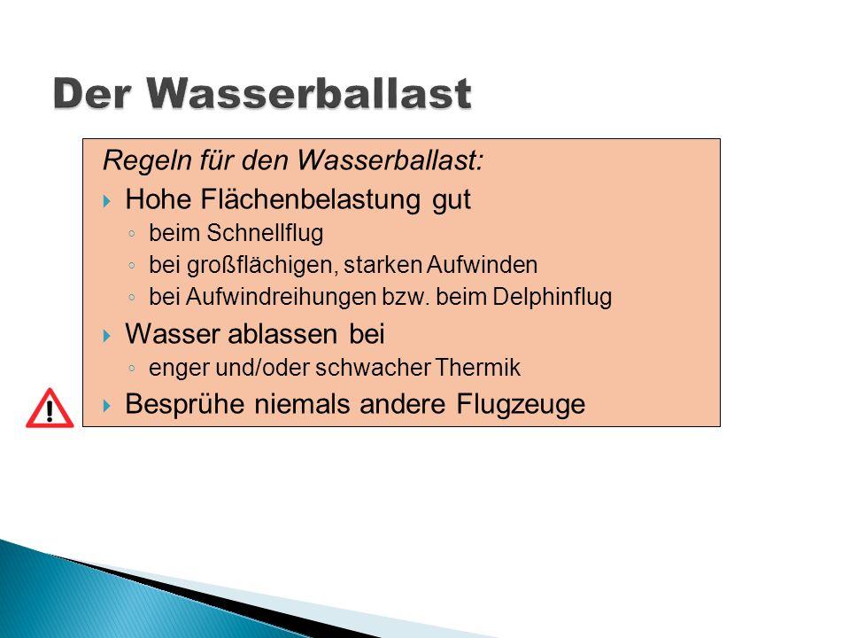 Der Wasserballast Regeln für den Wasserballast: