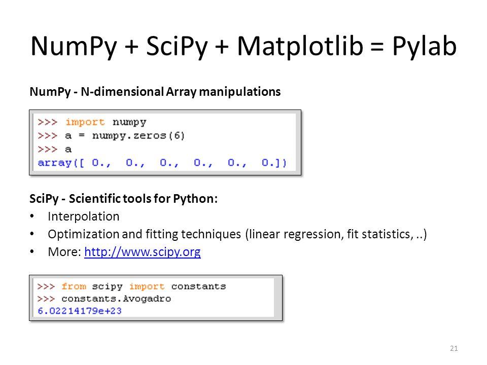 NumPy + SciPy + Matplotlib = Pylab