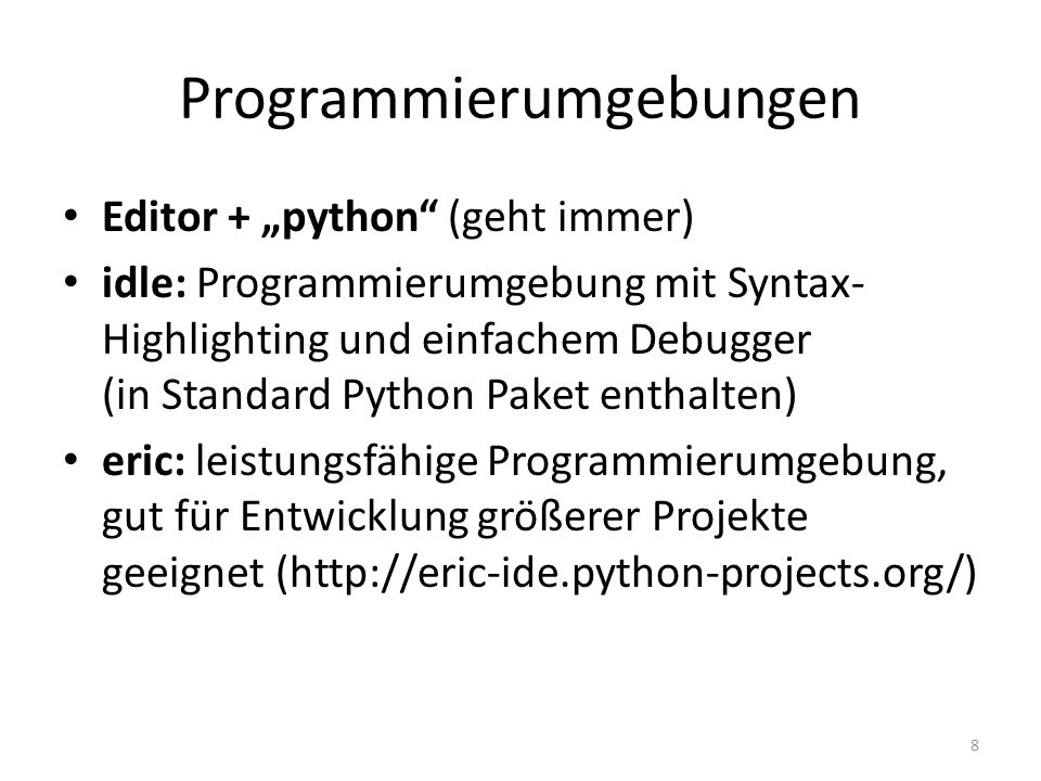 Programmierumgebungen