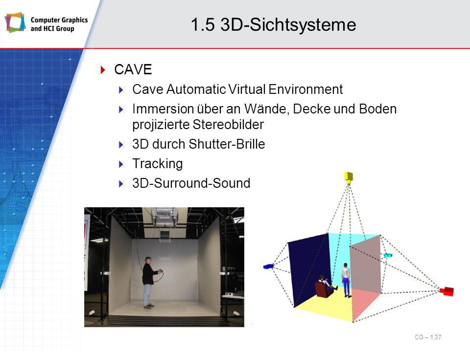 1.5 3D-Sichtsysteme CAVE Cave Automatic Virtual Environment