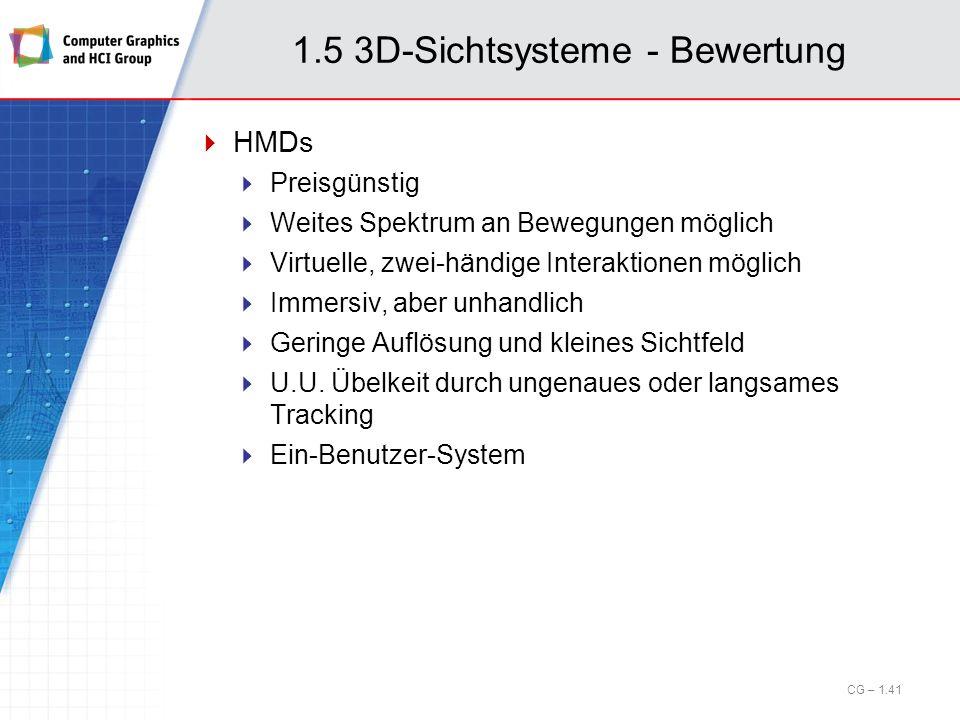 1.5 3D-Sichtsysteme - Bewertung