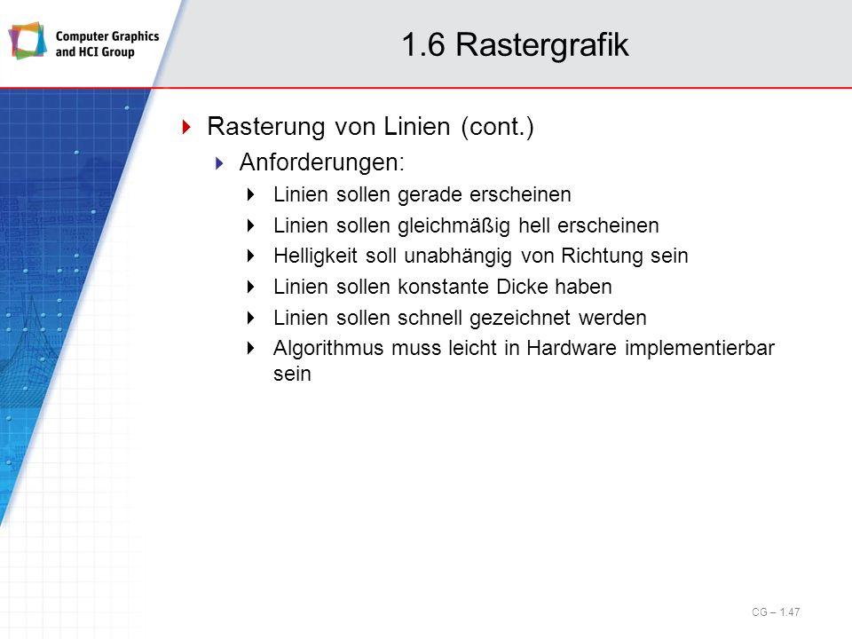 1.6 Rastergrafik Rasterung von Linien (cont.) Anforderungen: