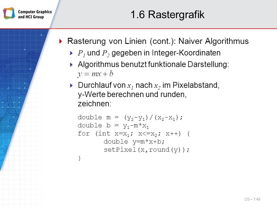 1.6 Rastergrafik Rasterung von Linien (cont.): Naiver Algorithmus