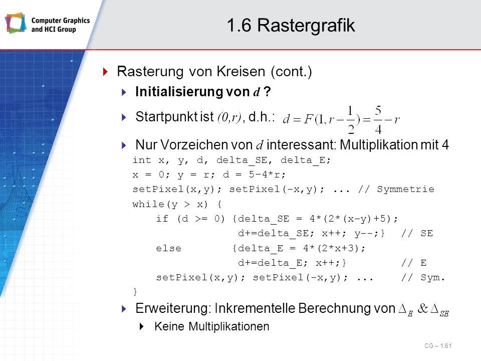 1.6 Rastergrafik Rasterung von Kreisen (cont.) Initialisierung von d