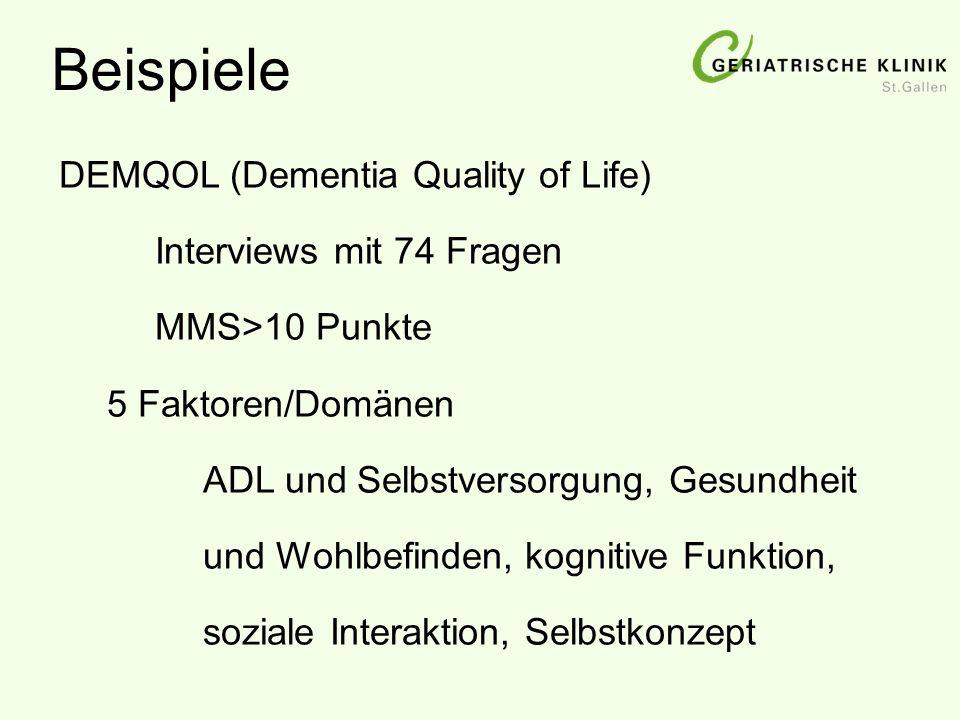 Beispiele DEMQOL (Dementia Quality of Life) Interviews mit 74 Fragen