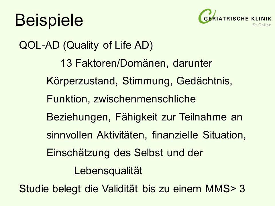 Beispiele QOL-AD (Quality of Life AD) 13 Faktoren/Domänen, darunter