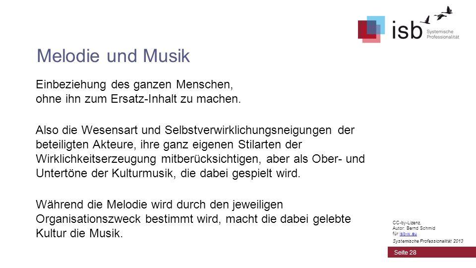 Melodie und Musik Einbeziehung des ganzen Menschen, ohne ihn zum Ersatz-Inhalt zu machen.
