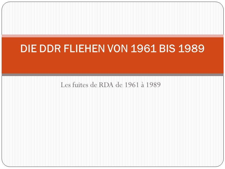 DIE DDR FLIEHEN VON 1961 BIS 1989 Les fuites de RDA de 1961 à 1989