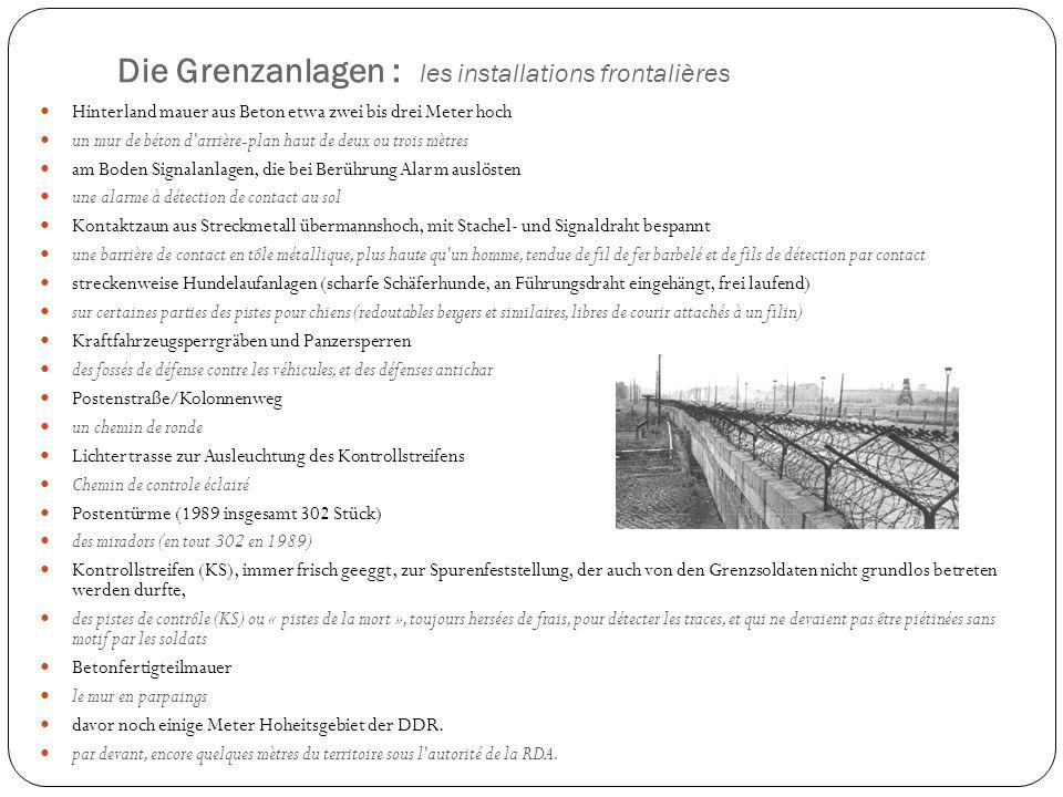 Die Grenzanlagen : les installations frontalières