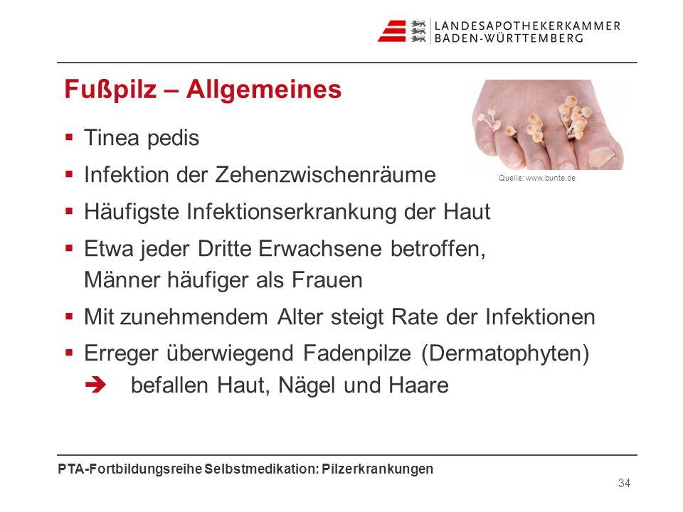 Fußpilz – Allgemeines Tinea pedis Infektion der Zehenzwischenräume