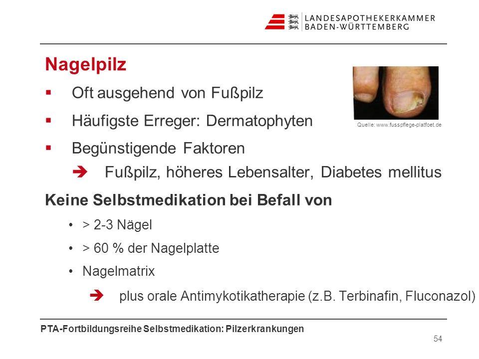 Nagelpilz Oft ausgehend von Fußpilz Häufigste Erreger: Dermatophyten