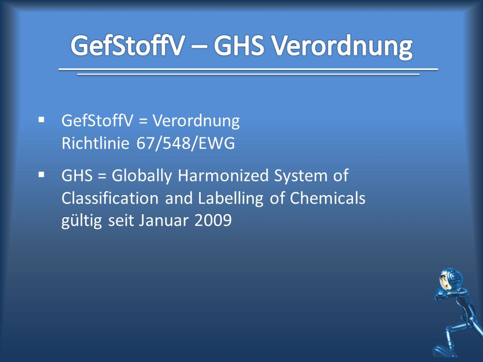 GefStoffV – GHS Verordnung