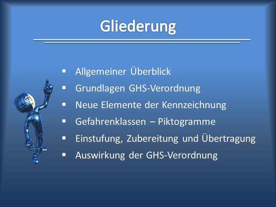 Gliederung Allgemeiner Überblick Grundlagen GHS-Verordnung