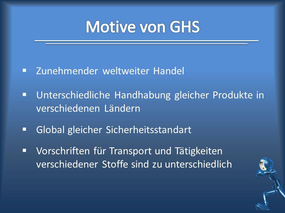 Motive von GHS Zunehmender weltweiter Handel