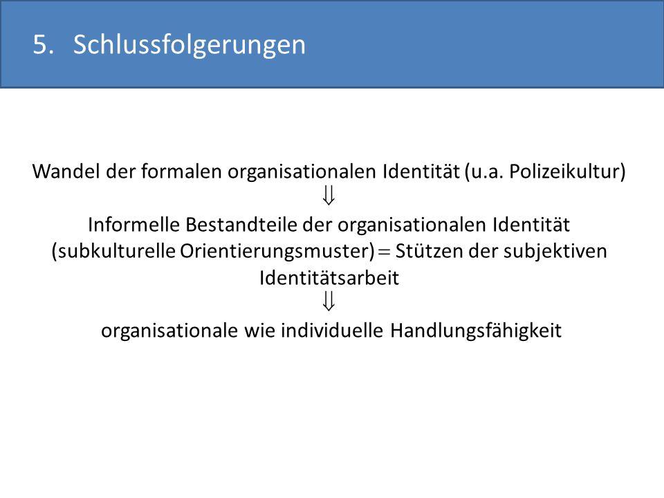 5. Schlussfolgerungen Wandel der formalen organisationalen Identität (u.a. Polizeikultur) 