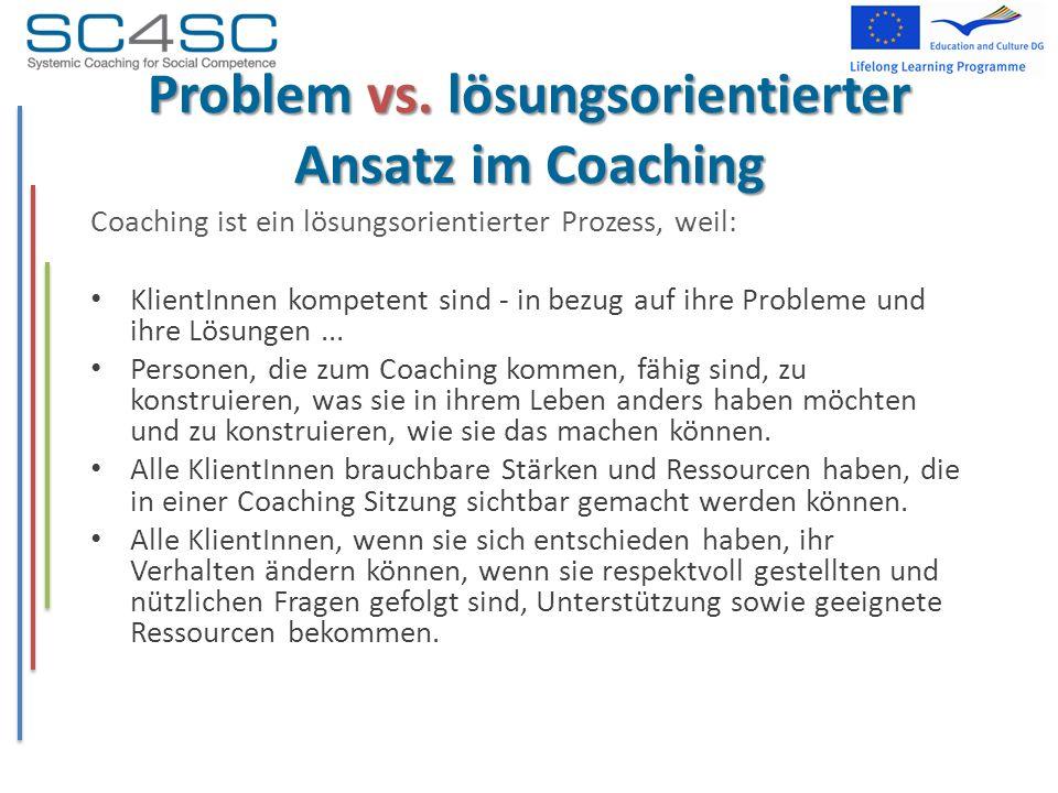 Problem vs. lösungsorientierter Ansatz im Coaching