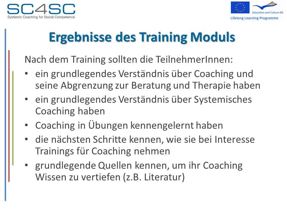 Ergebnisse des Training Moduls