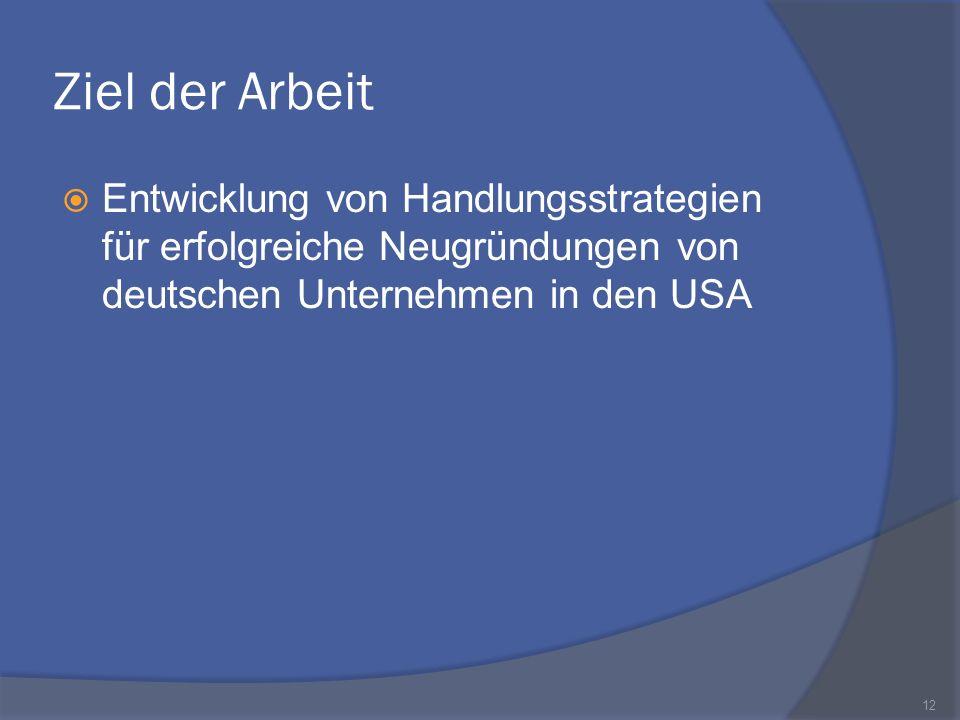 Ziel der Arbeit Entwicklung von Handlungsstrategien für erfolgreiche Neugründungen von deutschen Unternehmen in den USA.