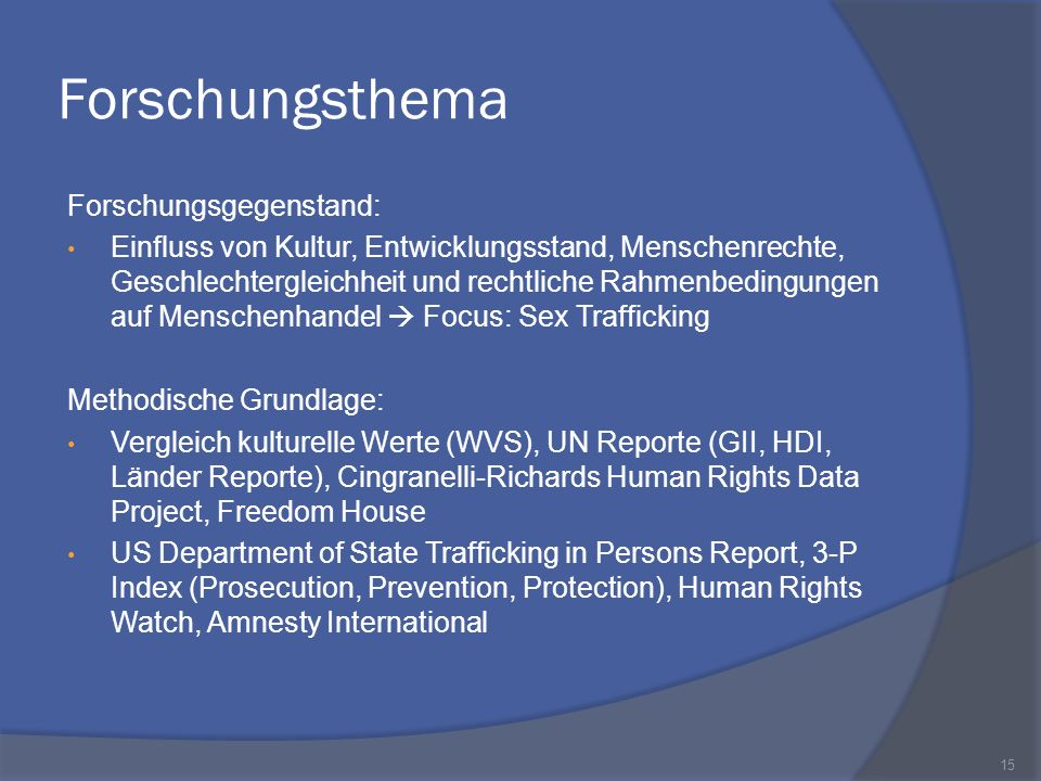 Forschungsthema Forschungsgegenstand: