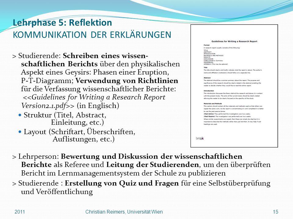Lehrphase 5: Reflektion KOMMUNIKATION DER ERKLÄRUNGEN