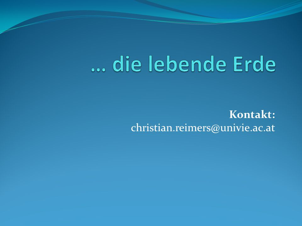 Kontakt: christian.reimers@univie.ac.at