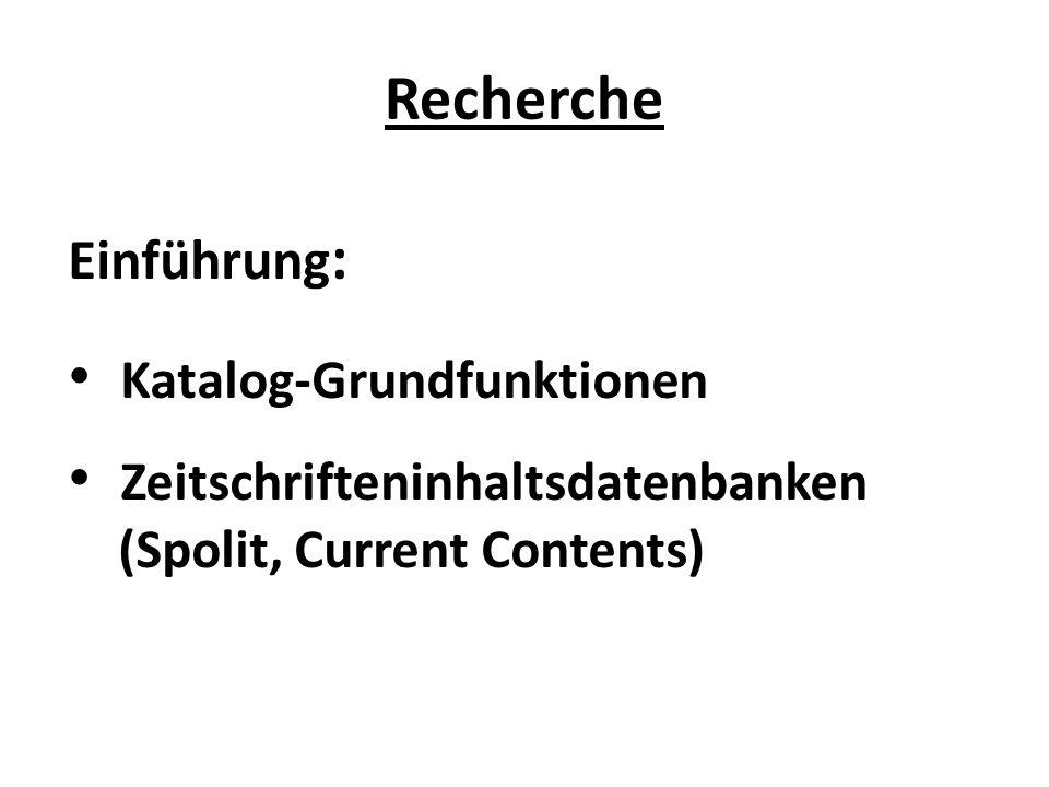 Katalog-Grundfunktionen Zeitschrifteninhaltsdatenbanken