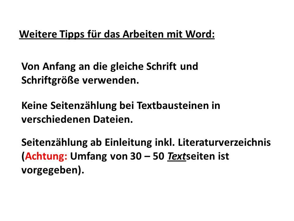 Weitere Tipps für das Arbeiten mit Word: