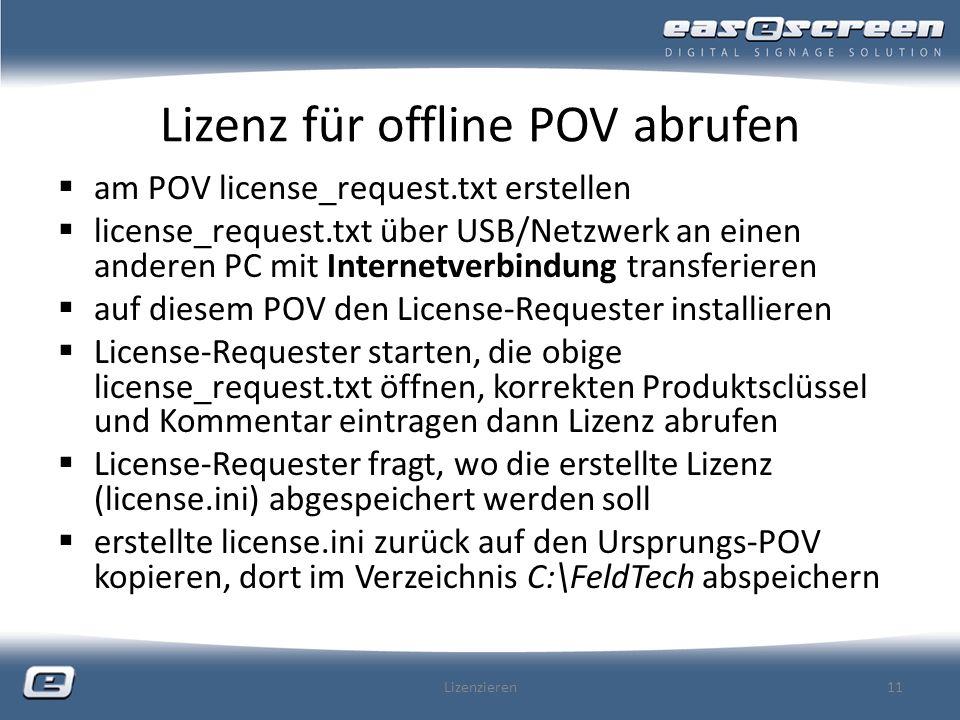 Lizenz für offline POV abrufen
