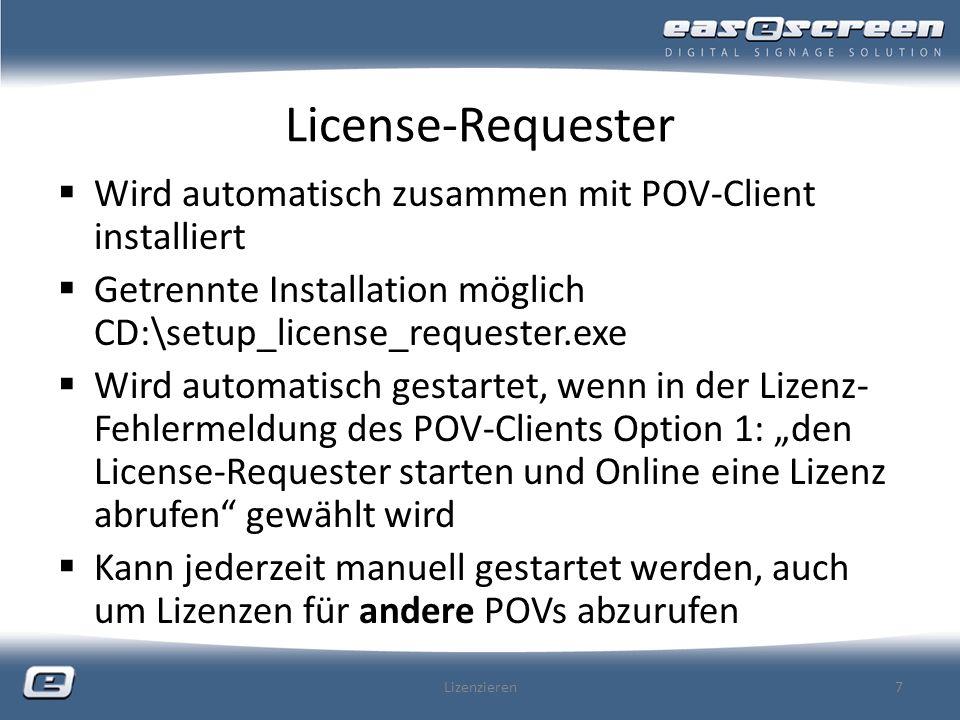 License-Requester Wird automatisch zusammen mit POV-Client installiert