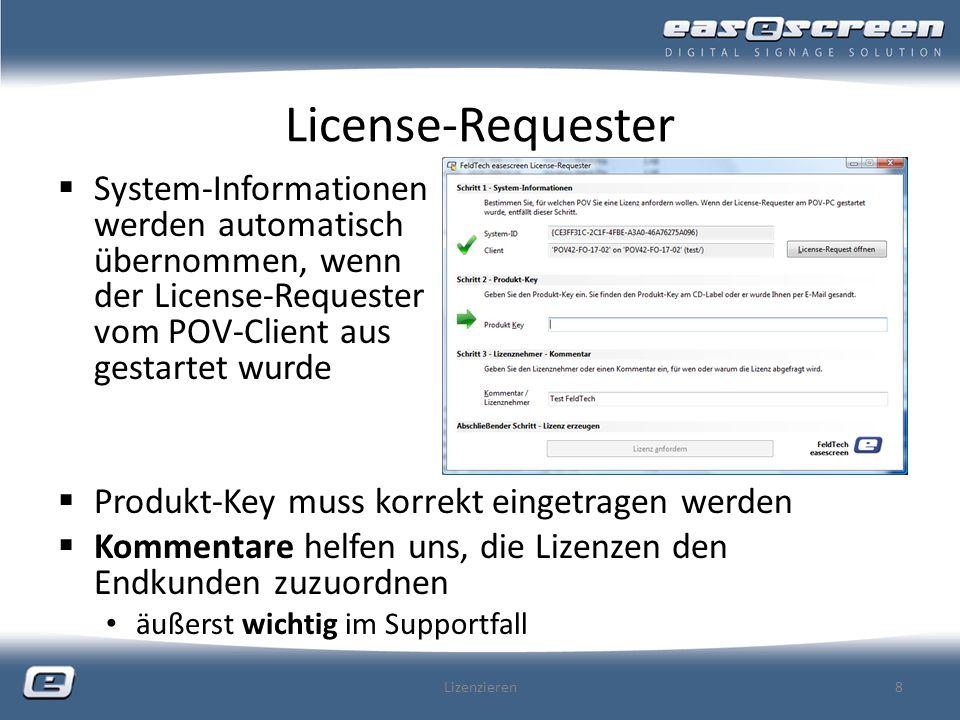 License-Requester System-Informationen werden automatisch übernommen, wenn der License-Requester vom POV-Client aus gestartet wurde.