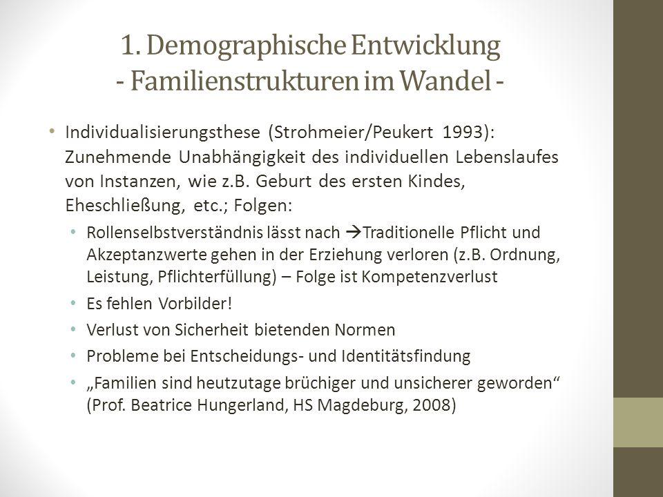 1. Demographische Entwicklung - Familienstrukturen im Wandel -