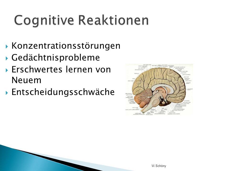 Cognitive Reaktionen Konzentrationsstörungen Gedächtnisprobleme