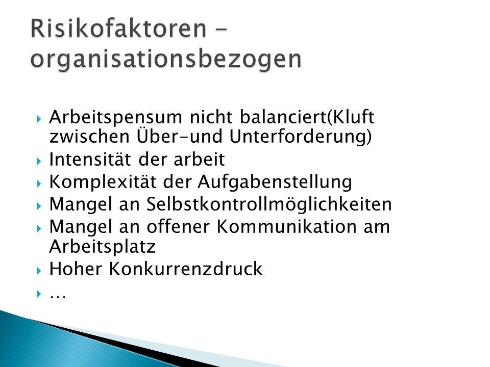 Risikofaktoren - organisationsbezogen