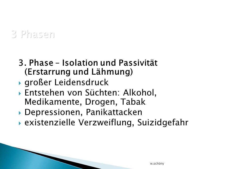 3 Phasen 3. Phase – Isolation und Passivität (Erstarrung und Lähmung)