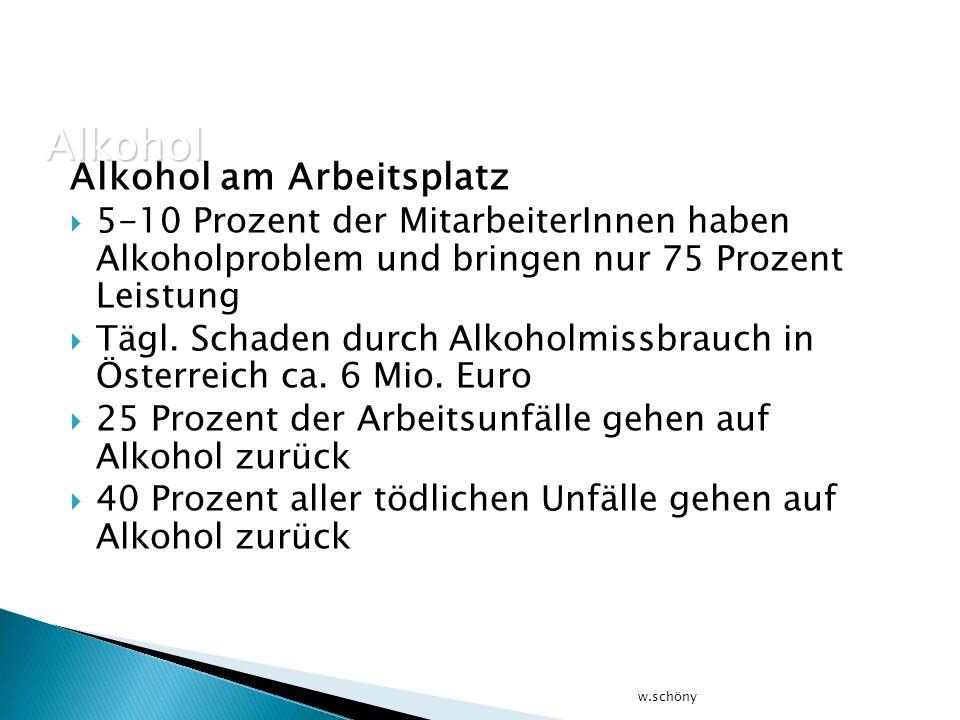 Alkohol Alkohol am Arbeitsplatz