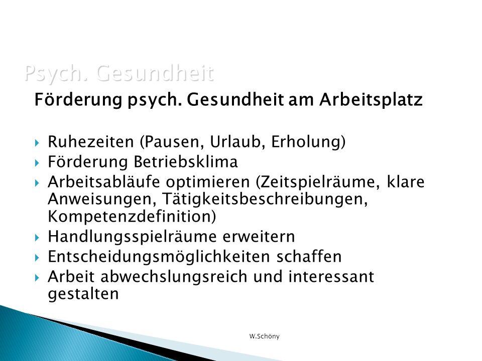 Psych. Gesundheit Förderung psych. Gesundheit am Arbeitsplatz