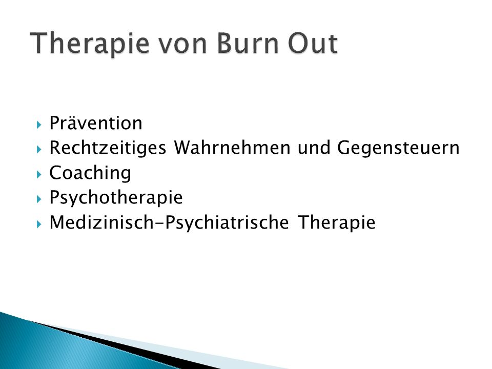 Therapie von Burn Out Prävention