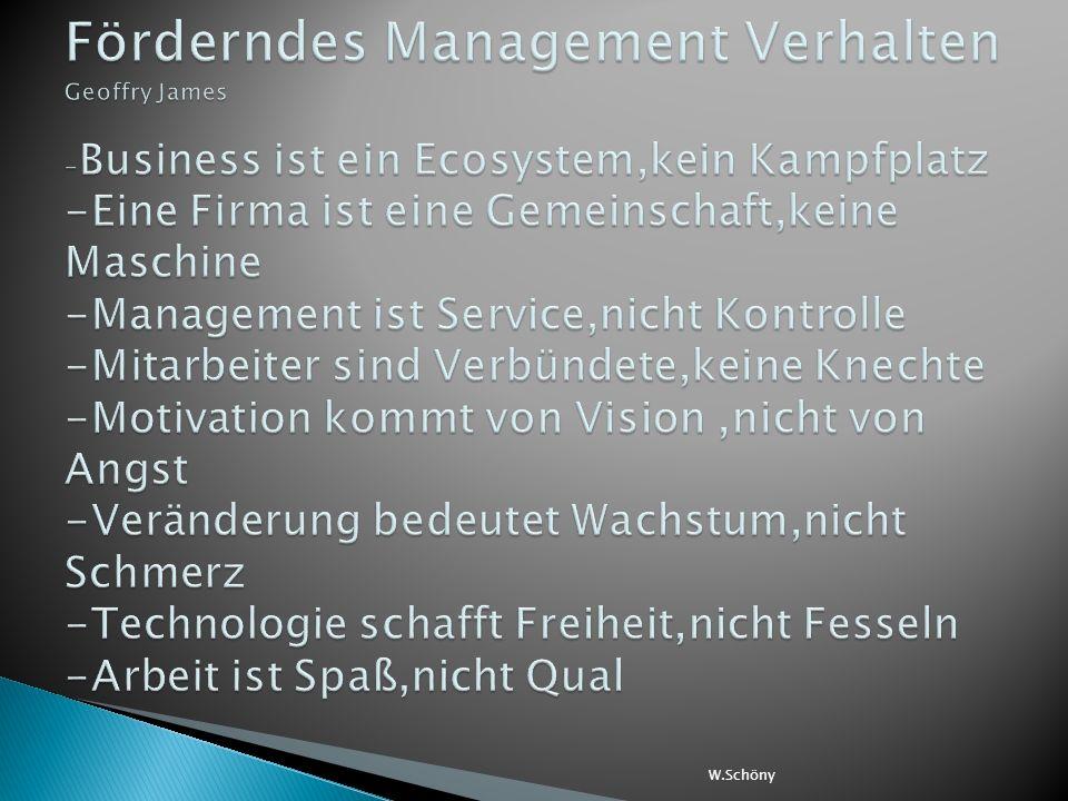 Förderndes Management Verhalten Geoffry James -Business ist ein Ecosystem,kein Kampfplatz -Eine Firma ist eine Gemeinschaft,keine Maschine -Management ist Service,nicht Kontrolle -Mitarbeiter sind Verbündete,keine Knechte -Motivation kommt von Vision ,nicht von Angst -Veränderung bedeutet Wachstum,nicht Schmerz -Technologie schafft Freiheit,nicht Fesseln -Arbeit ist Spaß,nicht Qual