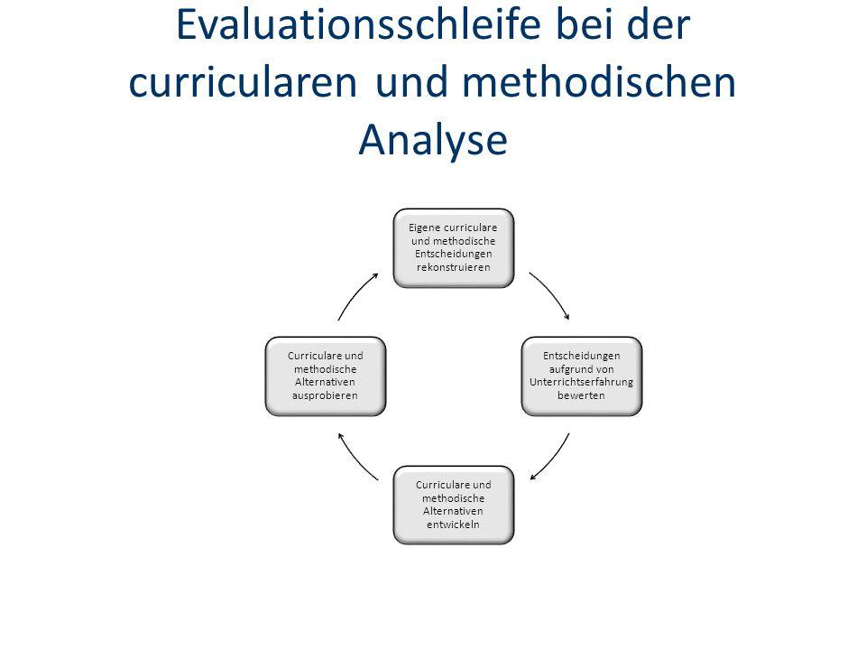 Evaluationsschleife bei der curricularen und methodischen Analyse