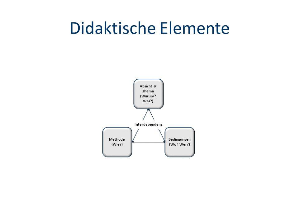 Didaktische Elemente Absicht & Thema (Warum Was ) Interdependenz