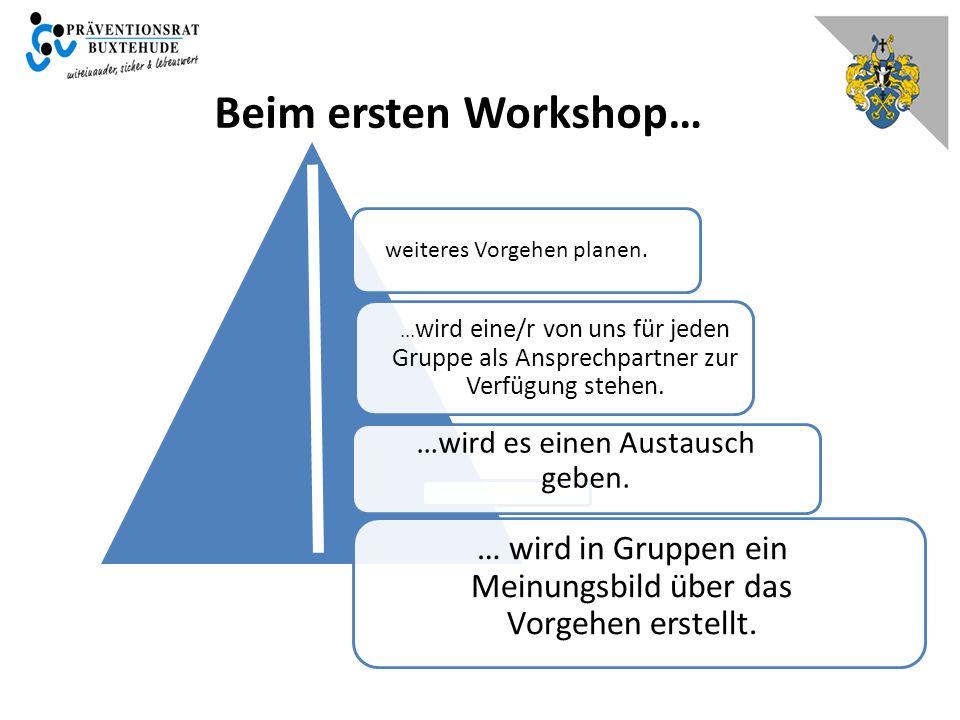 Beim ersten Workshop… weiteres Vorgehen planen. ...wird eine/r von uns für jeden Gruppe als Ansprechpartner zur Verfügung stehen.