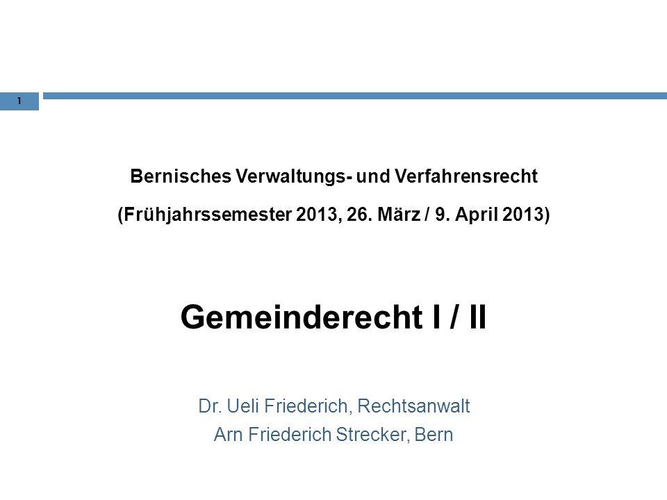 Gemeinderecht I / II Bernisches Verwaltungs- und Verfahrensrecht