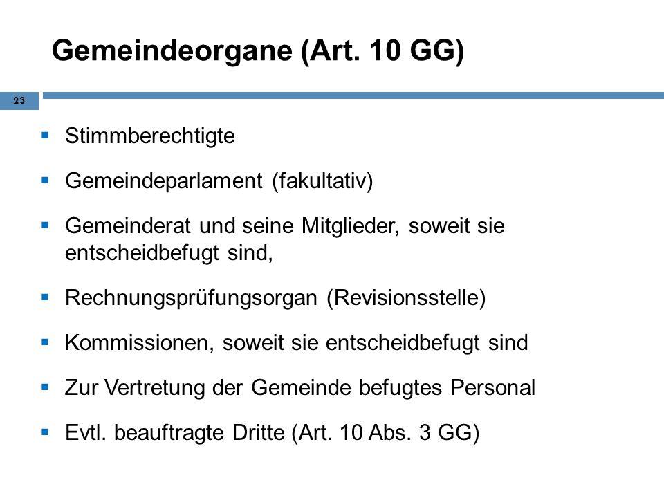 Gemeindeorgane (Art. 10 GG)